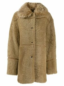Yves Salomon Meteo Curly merino coat - Neutrals