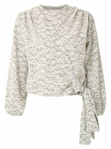 Framed Cashquere tweed blouse - White