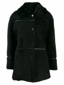 Yves Salomon Meteo Curly shearling coat - Black