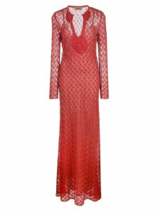 Missoni long lace dress - Red