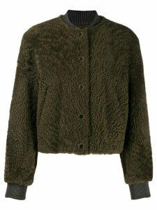 Yves Salomon Meteo short leather jacket - Green