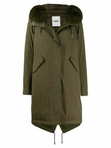 Yves Salomon Army fox fur trim parka coat - Green