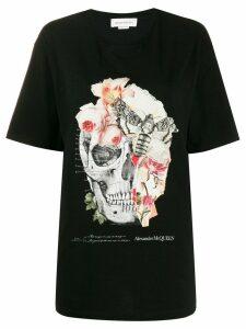 Alexander McQueen skull and floral print T-shirt - Black