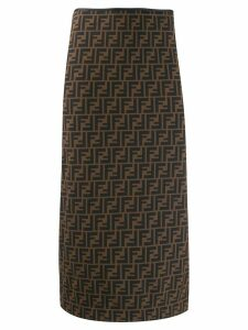 Fendi FF print pencil skirt - Brown