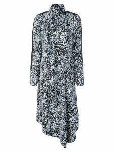 Proenza Schouler Zebra Print Long Sleeve Scarf Dress - Black
