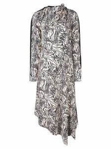 Proenza Schouler Zebra Print Long Sleeve Scarf Dress - White