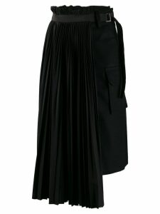 Sacai pleated asymmetric skirt - Black