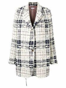 Thom Browne Oversized Tartan Sack Jacket - White