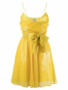 MSGM sequin embroidered wrap dress - Yellow