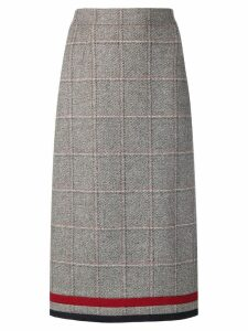 Thom Browne Windowpane Tweed Pencil Skirt - Grey