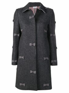 Thom Browne Bow Embroidery Bal Collar Overcoat - Grey