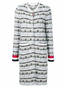 Thom Browne Check Tweed Yarn Long Jacket - Grey