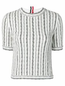 Thom Browne Wide University Stripe Yarn Tee - White