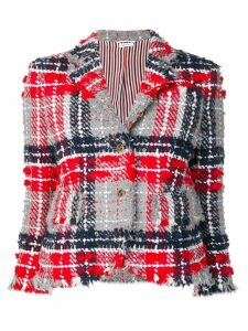 Thom Browne Oversized Tweed Gray Sport Coat - Red