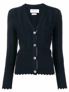 Thom Browne Flower V Neck Navy Cardigan - Blue
