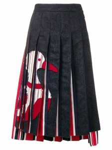 Thom Browne Navy Frayed Duck Pleated Skirt - Blue