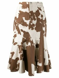 Miaou cow print godet skirt - Neutrals