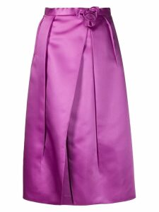 Prada flower detail glossy skirt - Purple