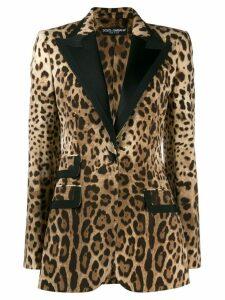 Dolce & Gabbana animal print tuxedo style blazer - Brown