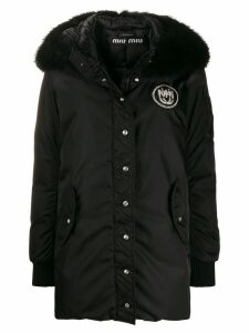 Miu Miu trimmed hooded parka - Black