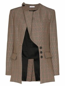 Delada asymmetric lapel check blazer - Brown