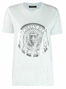 Balmain logo emblem print T-shirt - Blue