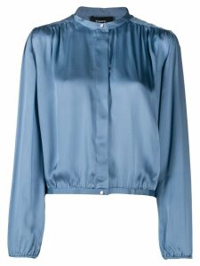Theory cropped gathered blouse - Blue
