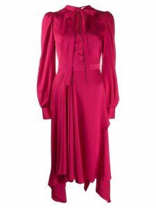 Alexander McQueen tie fastening asymmetric dress - Pink