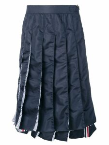 Thom Browne Navy Mesh Pleated Skirt - Blue
