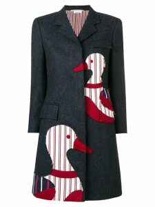 Thom Browne Donegal Chesterfield Navy Overcoat - Blue