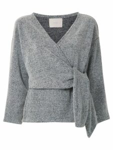 Framed knitted wrap top - Grey