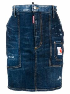 Dsquared2 distressed mini denim skirt - Blue