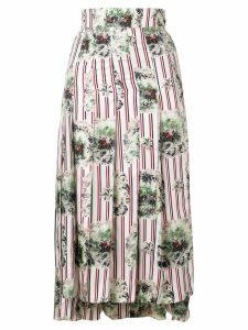 Thom Browne Tricolor Hunting Print Pleated Skirt - White