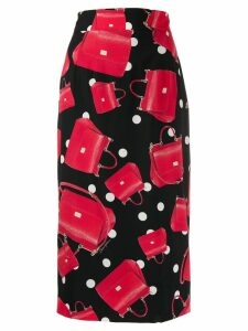 Dolce & Gabbana bag print pencil skirt - Red