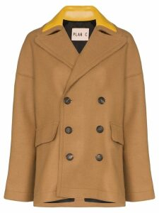 Plan C double-breasted peacoat - Brown