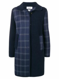 Thom Browne Fun Mix Bal Collar Navy Overcoat - Blue