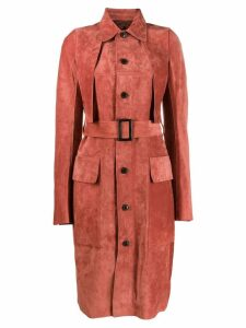 Rick Owens belted trench coat - Red