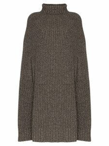 Jil Sander turtleneck chunky knit poncho - Grey