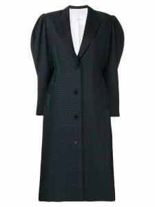 pushBUTTON oversized check print coat - Blue