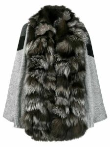 S.W.O.R.D 6.6.44 fur trim cardi-coat - Grey