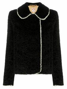 Shrimps faux fur pearl-trim jacket - Black