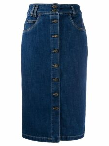 Moschino buttoned pencil denim skirt - Blue
