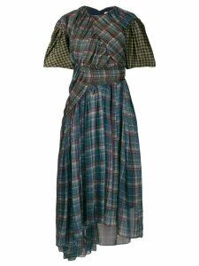 Preen By Thornton Bregazzi asymmetric ruffled midi dress - Blue