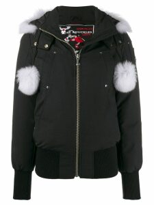 Moose Knuckles pom pom parka coat - Black