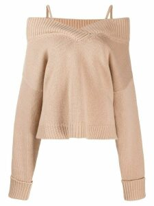 Maison Margiela off-shoulder knitted sweater - Brown