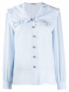 Miu Miu oversized ruffled collar blouse - Blue