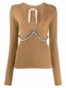 Nº21 crystal embellished jumper - Neutrals