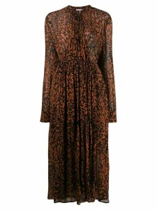 Calvin Klein leopard print midi dress - Brown