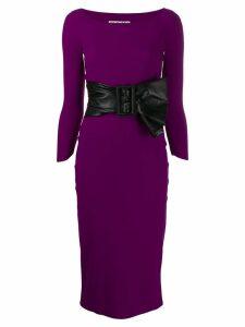 Le Petite Robe Di Chiara Boni bow-tie belt midi dress - Purple