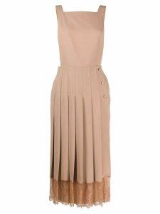 pushBUTTON pleated midi dress - Neutrals